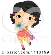 Clipart Happy Asian Girl Taking Pictures With Her Camera Royalty Free Vector Illustration by BNP Design Studio