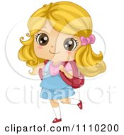 Happy Blond School Girl Walking With A Book Bag