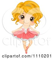 Happy Blond Ballerina Dancing In A Tu Tu