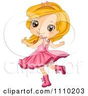 Happy Blond Girl Wearing A Tiara Boots And Tu Tu