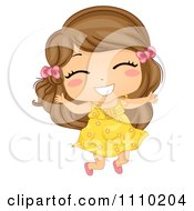Clipart Happy Brunette Girl Jumping With Excitement Royalty Free Vector Illustration