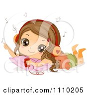 Clipart Relaxed Brunette Girl Listening To Music On Her Mp3 Player Royalty Free Vector Illustration
