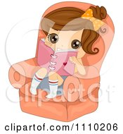 Clipart Cute Brunette Girl Sitting In A Chair With Her Diary Royalty Free Vector Illustration