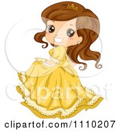 Clipart Cute Brunette Princess In A Yellow Dress And Tiara Royalty Free Vector Illustration