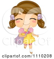 Clipart Happy Brunette School Girl Running With A Bag Royalty Free Vector Illustration