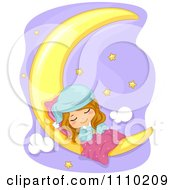 Cute Girl Sleeping On A Crescent Moon Over A Purple Sky