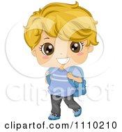 Happy Blond School Boy Walking With A Book Bag