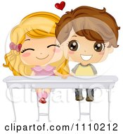 Clipart Cute School Boy And Girl Holding Hands Under Their Desk Royalty Free Vector Illustration by BNP Design Studio