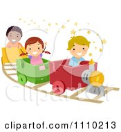 Clipart Happy Kids On A Train Ride Royalty Free Vector Illustration