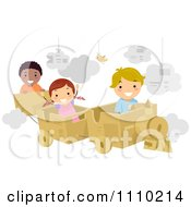 Clipart Happy Kids Playing With A Cardboard Train Royalty Free Vector Illustration