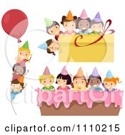 Clipart Diverse Happy Party Kids With Birthday Balloon Present And Cake Borders Royalty Free Vector Illustration
