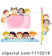 Clipart Diverse School Kids With Borders Rules And A Sign Royalty Free Vector Illustration