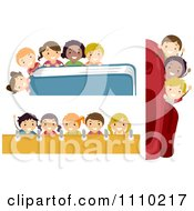 Clipart Happy Diverse School Kids With Backpack Book And Notebook Borders Royalty Free Vector Illustration