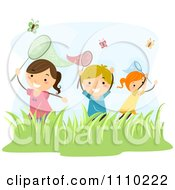 Clipart Happy Children Catching Butterflies Outdoors Royalty Free Vector Illustration
