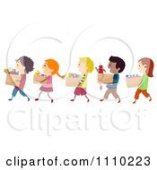 Clipart Line Of Diverse Happy Kids Carrying Boxes Of Books Clothing And Toys For Charity Drives Royalty Free Vector Illustration by BNP Design Studio