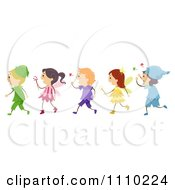 Clipart Line Of Happy Kids In Elf And Fairy Costumes Royalty Free Vector Illustration by BNP Design Studio