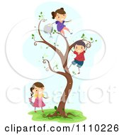 Clipart Happy Children Watering Planting And Climbing A Magic Tree Royalty Free Vector Illustration