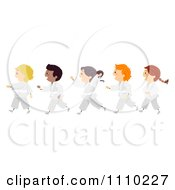 Clipart Line Of Diverse Happy Karate Kids Royalty Free Vector Illustration