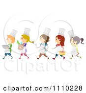 Clipart Line Of Diverse Happy Chef Kids Royalty Free Vector Illustration