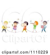 Clipart Line Of Diverse Happy Kids In A Band Royalty Free Vector Illustration by BNP Design Studio