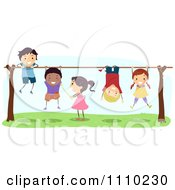 Clipart Line Of Diverse Happy Kids Playing On Bars Royalty Free Vector Illustration