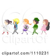Clipart Line Of Happy Occupation Kids Royalty Free Vector Illustration