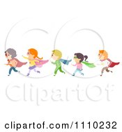 Clipart Line Of Diverse Happy Super Hero Kids Royalty Free Vector Illustration