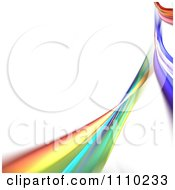 Rainbow Fractal Of Colorful Swooshes On White With Copyspace