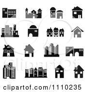 Clipart Black And White Building Icons Royalty Free Vector Illustration