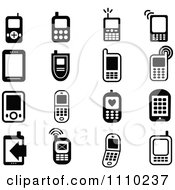 Clipart Black And White Cell Phone Icons Royalty Free Vector Illustration by Prawny