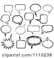 Clipart Black And White Thought And Word Balloon Icons Royalty Free Vector Illustration by Prawny