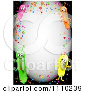 Clipart Border Of Confetti And Happy Alien Balloons With Copyspace On Black Royalty Free Illustration by Prawny