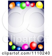 Clipart Colorful Party Balloons And Copyspace On Dark Blue Royalty Free Illustration