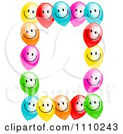 Clipart Frame Of Colorful Happ0y Party Balloons And Copyspace On White Royalty Free Illustration