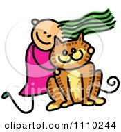 Clipart Sketched Stick Girl Hugging Her Giant Cat Royalty Free Vector Illustration by Prawny