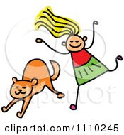 Clipart Sketched Stick Girl Running To Her Cat Royalty Free Vector Illustration