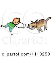 Clipart Sketched Stick Boy Giving His Dog A Bone Royalty Free Vector Illustration