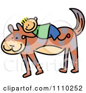 Clipart Sketched Stick Boy On A Giant Dogs Back Royalty Free Vector Illustration