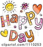 Clipart Colorful Sketched Happy Day Text Royalty Free Vector Illustration