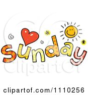 Clipart Colorful Sketched Sunday Text Royalty Free Vector Illustration