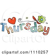 Clipart Colorful Sketched Thursday Text Royalty Free Vector Illustration