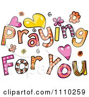 Clipart Colorful Sketched Praying For You Text 1 Royalty Free Vector Illustration by Prawny
