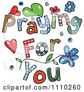 Clipart Colorful Sketched Praying For You Text 2 Royalty Free Vector Illustration by Prawny