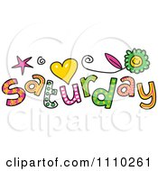 Clipart Colorful Sketched Saturday Text Royalty Free Vector Illustration
