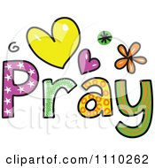 Clipart Colorful Sketched Pray Text 1 Royalty Free Vector Illustration by Prawny