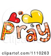 Clipart Colorful Sketched Pray Text 2 Royalty Free Vector Illustration by Prawny