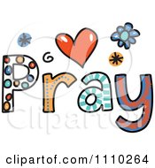 Clipart Colorful Sketched Pray Text 3 Royalty Free Vector Illustration by Prawny