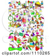 Clipart Montage Of Active Stick Children Royalty Free Illustration