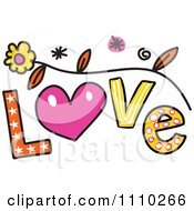 Clipart Colorful Sketched Love Text Royalty Free Vector Illustration