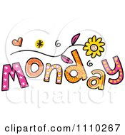 Clipart Colorful Sketched Monday Text Royalty Free Vector Illustration